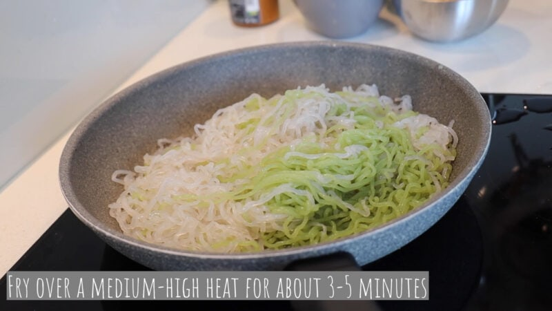 Heating the Shirataki Noodles