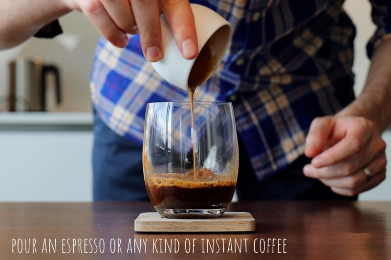 Pouring an espresso into the glass